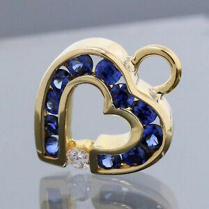 Charles Krypell 18K Yellow Gold Blue Sapphire Diamond Open Heart Pendant Charm