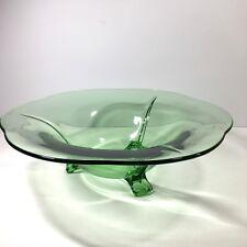 "Fostoria Fairfax Three Toed Footed Console Bowl Green Glass 12"" Centerpiece"