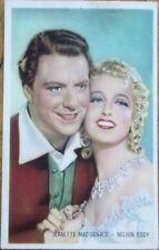 Jeanette MacDonald & Nelson Eddy 1930s Color Postcard/Kwatta Ad Card- Movie Star