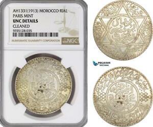 AG520-R, Morocco, Yusef , 1 Rial AH1331 (1913) Paris, Silver, NGC UNC Details