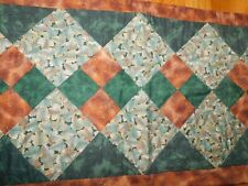 Fall Leaves Quilt Panel Table Runner Four Patch Handmade