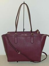 Pre-owned Michael Kors Dee Dee Large Signature Convertible Tote Leather Plum