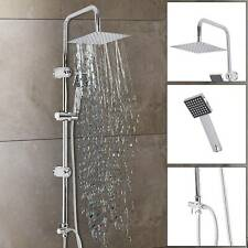 Square Chrome Overhead Rain Shower Kit Dual Rigid Riser Hand Held Twin Sets