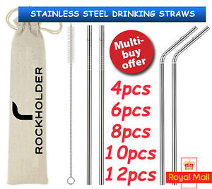 Metal Drinking Straws Stainless Steel Drinks Straw Cleaner Party Reuse Bar...