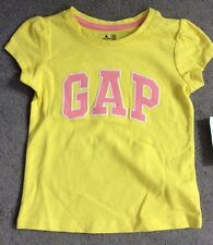 BABY GAP SHORT SLEEVE YELLOW T.SHIRT WITH PINK LOGO EDGED IN WHITE - AGE 2y BNWT
