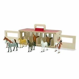 Take Along Show Horse Wooden Stable 8 Toy Ponies Play Set Melissa & DOug