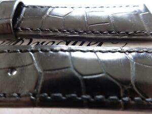 Breguet OEM Genuine Alligator strap Black padded semi shiny 21mm New
