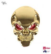 3D Skull Bone Red Eyes Gold Metal Car Motorbike Truck Emblem Badge Sticker