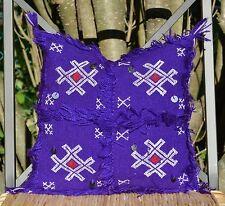 14x14 Moroccan Boho Pillow, Killim Handira Cushion, Wool Throw Pillow Cover