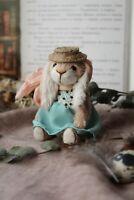 Teddy Handmade Interior Toy Collectable Gift Animal Doll OOAK Rabbit Bunny