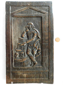 """Antique carved wooden picture of William Shakespeare furniture panel 18"""" x 10"""""""