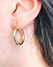 14K Gold Filled Aretes - Hoop Earrings 18mm Arracadas, Yellow Gold, Plane, Small