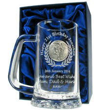 Rugby Engraved Beer Tankard 18th 21st Birthday Personalised Boxed Mens Boys Gift