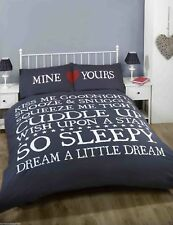 Double Bed Duvet Cover Set Mine and Yours Navy Dream Snooze Love Squeeze Me