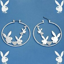 Playboy Earrings Triple Bunny Logo Hearts Swarovski Crystals Hoops Silver Plated