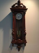 antique clock/Gustav Becker Circa 1885 carved case with tall pendulum with singe