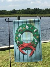 Crab Nautical Wreath Garden Sz Flag Beach Ocean Maryland Driftwood 2Side MADEUSA