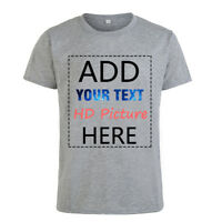 Personalised Customer Your Own Design/DIY Text/Image Round Neck T-Shirt Tops Tee
