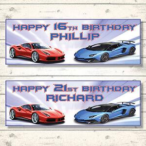2 PERSONALISED FAST CARS FERRARI LAMBORGHINI BIRTHDAY BANNERS - ANY NAME/AGE