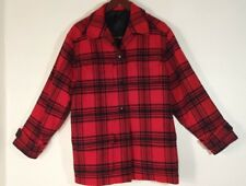 WOOLMARK COAT JACKET RED & BLACK PLAID 100% WOOL WOMEN'S SIZE SEE MEASUREMENTS