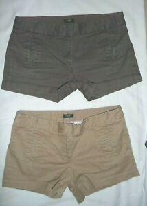 Lot 2 J.Crew Chino Broken-in khaki trouser shortie short shorts Stretch Size 6