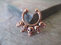 Rose Gold IP Non-Piercing Skulls Septum Hanger Clip-On Fake Faux Nose Ring
