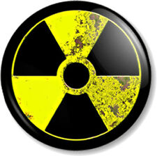 AGED NUCLEAR WARNING SIGN 25mm Pin Button Badge Zombie Symbol Novelty/ Message