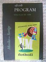 1958 World Cup Programme MEXICO v SWEDEN, 8 June (Original*,VG*)