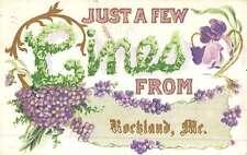 Rockland Maine Flower Greeting Antique Postcard K49589