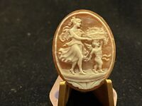 Vintage Hand Carved Shell Cameo Lady and Cherub Carrying Basket of Fruit