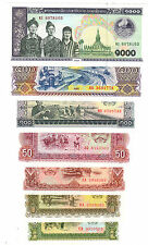 Laos Set 7 PCS, 5+10+20+50+100+500+1000 Kip ~~~ UNC