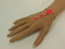 Coral Pink Drops Beads Slave Ring Women Gold Metal Hand Chain Fashion Bracelet