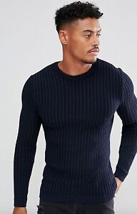 Brand New ASOS Mens Ribbed Muscle Fit Knit Jumper in Navy RRP £28 XXS - XXL