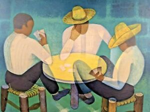 Vintage LOUIS TOFFOLI Signed Lithograph CARD PLAYERS Mid Century French Abstract