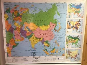 1994 Nystrom 3-layer Eastern Hemisphere Africa Asia Pulldown Political Map -Used