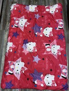 Hello Kitty Twin Comforter Reversible Pink Purple Blue Girl Stars Tween Bedding