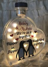 "LED 6"" Glass Light Heart Bottle Lamp Penguins Together Personalised Couple Love"
