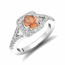 Natural Unheated Orange Sapphire 0.83 carats set in 14K White Gold Ring