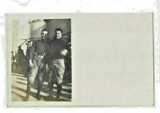 RPPC Photo Postcard FOOTBALL PLAYERS United States Military Ship vintage US USA
