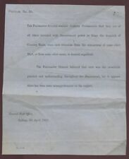 AUSTRALIA NSW 1862 PO CIRCULAR...DELAYED COUNTRY MAILS