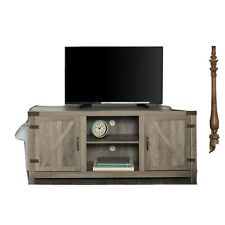 "Manor Park Farmhouse Barn Door TV Stand for TVs up to 65"", Grey Wash"