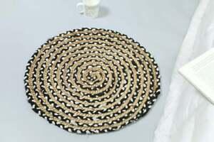 Rug Jute& Cotton Round Natural Jute Braided Reversible Modern rustic look Carpet