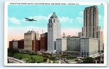 *Plane Oak Street Beach Lake Shore Drive Drake Chicago Illinois old Postcard C55