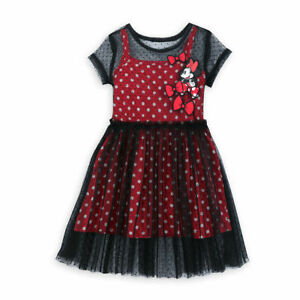 Disney Store Minnie Mouse Girl's Black Mesh Fancy Party Dress Red Bows Ruffles