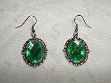 VICTORIAN STYLE APPLE GREEN ACRYLIC FILIGREE DARK SILVER PLATED EARRINGS SNV