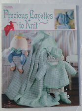 Precious Layettes To Knit Patterns Baby Sweater Booties Blanket Leisure Arts