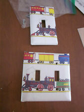 TRAIN DESIGN PAINTED WALL SWITCH PLATE SET DOUBLE & SINGLE SWITCH EUC