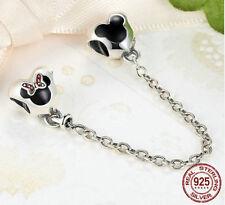 Argento Sterling DISNEY braccialetto catena di sicurezza-UK STOCK - (collana charm Pandora)
