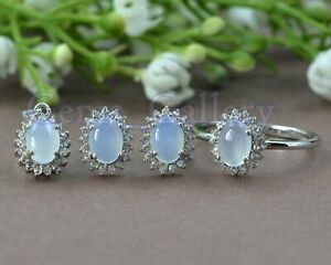Natural Oval Chalcedony Gemstone 925 Sterling Solid Silver Jewelry Set For Women