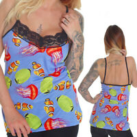 MARINE CLOWN JELLY FISH STRAPPY VEST TOP GOTHIC EMO ALTERNATIVE